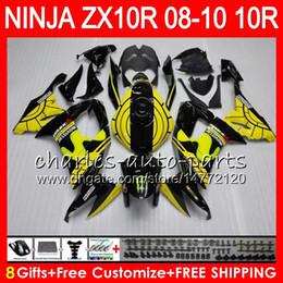 ninja kawasaki carenados amarillo Rebajas 8Regalos 23Colores Cuerpo Para KAWASAKI NINJA ZX 10 R ZX10R 08 09 10 47HM5 ZX 10R ZX1000 C ZX1000C ZX-10R 2008 2009 2010 kit de carenado Amarillo negro