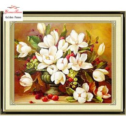Wholesale Counted Cross - Needlework,DIY DMC Cross stitch,Sets For Embroidery kits, white flowers pattern Counted Cross-Stitching,factory direct sale