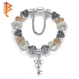 Wholesale Glass Bead Key Chain - BELAWANG Retro Pattern Heart Charm Bracelets&Bangles with Cartoon Mickey Key Pendant Clear Murano Glass Crystal Bead Jewelry For Women Gift