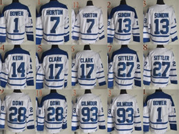 Wholesale free tim - Toronto #1 Johnny Bower #7 tim horton CCM Throwback Vintage Jersey Cheap ICE Hockey Jerseys Heritage Stitched Free Shipping Size 48-56