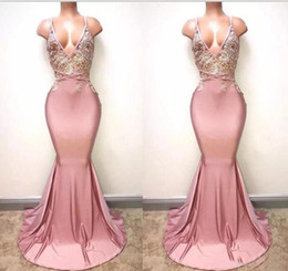 Wholesale ivory hand - Dusty Pink Sexy Spaghetti Straps Mermaid Prom Dresses 2018 Deep V Neck Sexy Backless Lace Sequins Beaded Long Formal Evening Gowns