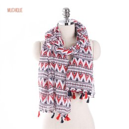Wholesale Shawls Wave - Muchique Women's Scarf Wave Printed Geometrical Oblong Scarves Oversized Classic Wrap Beach Scarves Shawl with Tassels
