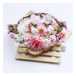 Wholesale Flower Wreath Tiara Wholesale - Korean Wedding Bridal Girls Wreath bride big flowers garlands Women Kids Head Flower Tiara Garland Wrist photography hair accessories C496