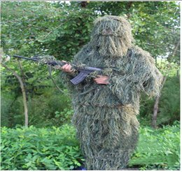 Wholesale Ghillie Suit Camo - Wholesale- Camo green Leaf Hunting Poncho Camouflage Clothing Camping Birdwatching Breathable Ghillie Suit for hunter