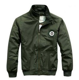 Wholesale Military Uniform Army Black - Sping Men Pure Color Stand Collar Pilot Jackets Casual Baseball Uniform Military Style Air jacket Student Fashion Slim Thin Windbreak Coats