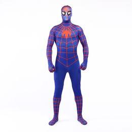 A estrenar 2017 Azul y naranja Lycra Spandex Full Body Jumpsuit Clásico Superhéroe Spider-man Cosplay Zentai traje de traje para Halloween desde fabricantes
