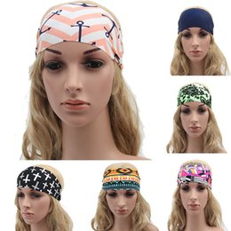 Wholesale Ladies Fabric Headbands - Fashion Women Headbands Bohemia Fabric Printed Sports Hairband Fashion Yoga Stretch Headbands Lady Bandana Head Wrap 17 Style WX-H15