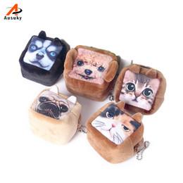 Wholesale Headphone Big - Wholesale- 2016 New Square Coin Purses Wallet Ladies 3D Cats Dogs Animal Big Face Change Fashion Cute Headphones Zipper Bag For Women 45