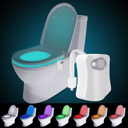 Wholesale Led Light Toilet Seat - Motion Activated Toilet Night Light 8 Color Changing Led Toilet Seat Light Motion Sensor Toilet Bowl Light