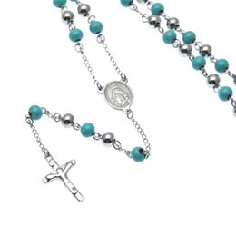Wholesale Rosary Blue - Women Blue Round Beads Necklaces Trendy Stainless Steel Saint Benedict Rosary Cross Jesus Pendant Silver Necklace Jewelry