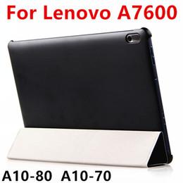 Wholesale- Custodia in PU per Lenovo TAB A10-70 Custodia in pelle Smart Cover Protector per Ideatab A10-80 A7600 Custodia protettiva in PU in plastica da 10,1 pollici da