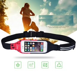 Wholesale Running Reflectors - Red Black Patchwork Waterproof Waist Bag with Reflector Night Running Sport Bags TPU Touching Screen Fashion Phone Bag YBC-045