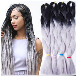 Wholesale Expressions Hair - Free Shipping Wholesale 24Inch Expression Braid 100G Kanekalon Expression Braiding Hair Synthetic Crochet Box Braids Hair Jumbo