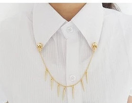 Wholesale Collar Clip Vintage - Wholesale- Vintage Skull Punk Rock Spike Stud Shirt Collar Rivet Chain Neck Tip Brooches Clip oth Pin Brooch Button Collar Clip Women