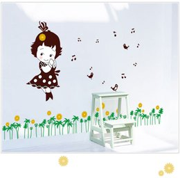 Wholesale Music Vinyl Wall Sticker - MJ7016 Cartoon Girl Music Wall Stickers DIY Cartoon PVC Tree Birds For Kids Room Free Shipping