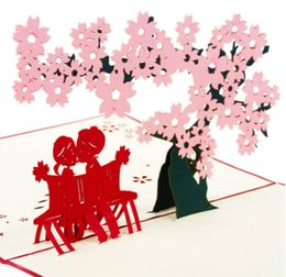 Wholesale Valentine Post Card - Romantic Cherry Blossom Love 3D Pop Up Greeting Card Love Cards for Valentine Sakura Cards Birthday Gift 10 Pieces lot