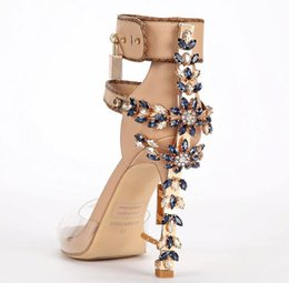Wholesale Sandals Sex - Limited Sex Transpare Edition Perspex High Heels Sandals Luxury Quality Ankle Women Sandals Boots Peep Toe Rhinstone Lock Design Shoes Woman