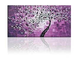 Wholesale Tree Life Artwork Paintings - 100% Hand Painted on Canvas Hot Purple Background Abstract Tree Oil Paintings 1-pieces Artwork for Living Room Home and Wall Decoration