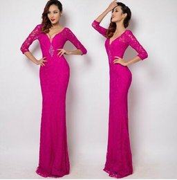 Wholesale V Com - Fuchsia V-neck Party Dresses Prom Gowns Long Evening dresses Robe de soiree Abiti da sera vestido de casamento longo com renda