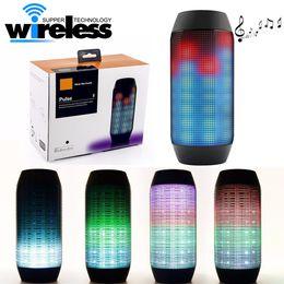 Wholesale Bluetooth Speakers Blue Box - 2016 New Pulse Portable Bluetooth Speaker Super Bass Wireless Mini Speakers Sound Box Built-in Flash LED Light & Mic TF AUX USB Disck DHL