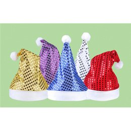 Wholesale Santa Fancy Dress - Wholesale- 2016 Deluxe Sequin Santa Hat Outfit Accessory for Christmas Day Fancy Dress children adult Christmas hat Christmas Accessories