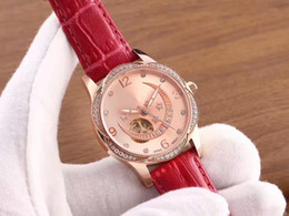 Wholesale Scratch Resistant Sapphire - 2017 top luxury brand AAA rose gold diamond ladies watch camellia star series cowhide strap mechanical movement sapphire scratch mirror deep