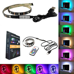 Wholesale Usb Rgb Led - Waterproof 5V LED Strip Light 0.5m 100CM(3.28Ft) 2m 30leds Flexible 5050 RGB TV Backlight USB Cable And Mini Controller