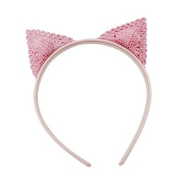 Wholesale Wholesale Embroidery Hoops - 10 Pcs Lot Cute Baby Girl Embroidery Cat Ears Design Hairband Hair Hoop Hair Sticks Boutique Kids Hair Accessories Beautiful HuiLin BHS16