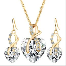Wholesale Multi Pendants Necklace - Multi color Crystal hearts Jewelry Sets for women rhinestones pendants link chain necklaces & hearts dangle earrings jewelry sets for partie