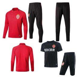 Wholesale Men Long Paragraph Suit - 2017 Monaco training uniform BERNARDO CARRILLO Soccer jerseys Monaco training suit long short paragraph Football jersey Shirts