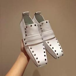Wholesale Flat Lace Ribbon - TOP QUALITY! u710 40 black white stud genuine leather square toe flats shoes luxury designer runway