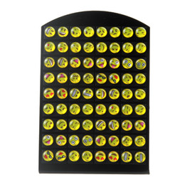 Wholesale 8mm Cartoons - 36 Pairs   Card 8mm Emoji Earrings Stud Jewelry Fashion Cartoon Smile Face Earrings for Girl's Gift