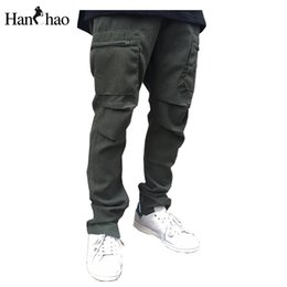 Wholesale Big Leg Pants - Wholesale- Pleated Straight Regular Mens Pants 2017 Spring New Fashion Side Leg Zipper Pants Men Big Pockets Man Trousers Full Length