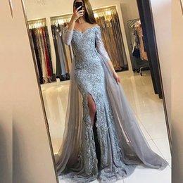 Wholesale Royal Blue Mermaid Slit Dress - Luxury Custom Made Off the Shoulder Evening Dress Mermaid Lace Appliques Split Prom Party Gowns with Detachable Tulle Skirt Slit 2017