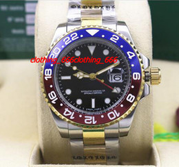 Wholesale ii tone - Factory Fashion Watch NEW II 2 TONE 116719 Red Blue Ceramic Bezel Automatic Mechanical Blue Luminescent Dial Men Watches Top Quality