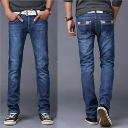 Wholesale Youth Pants Wholesale - Wholesale- 2016 high quality autumn youth jeans boys tide Slim men Solid color trousers fall and winter section straight casual pants male