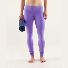 Wholesale Grey Leggings Woman - 9 Colors Women Sports Fitness Elastic Pants Brand with Logo Girl Lady Yoga Outfits Lulu Groove Gym Leggings Running Pants XXS-XL