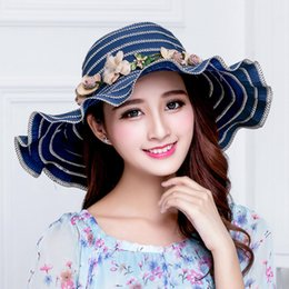 Wholesale Wreath Summer - Scrunchie Sun Hats for Womens UPF 50+ Crushable Flower Wreath Available Wide Brim for Beach Travel Packable Stylish Summer Hat