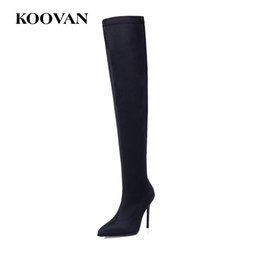 Wholesale korean high heel boots - Fashion Boots Over Knee Boots 10 Cm High Heel Shoes Stretch Fabric Perform Shoes 2017 Koovan Women Korean Flock Leather W569