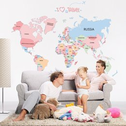 Wholesale World Map Sticker Decal - ome Decor Wall Stickers Colored letters world map DIY Vinyl Wall Stickers Kids love Home Decor office Art Decals creative 3D Wallpaper de...