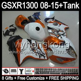 Carcaças de gsxr branco laranja on-line-gloss orange 8gifts Para SUZUKI Hayabusa GSXR1300 08 15 GSXR-1300 14MY113 GSXR 1300 GSX R1300 08 09 10 11 12 13 14 15 laranja branco Carenagem