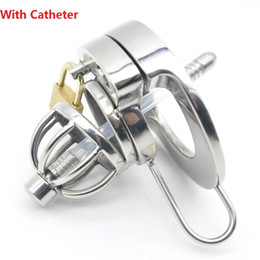 heavy steel bondage male Promo Codes - 2018 Latest Design Super Small Heavy Male Stainless Steel Cock Cage With Catheter Penis Ring Chastity Device Adult Bondage BDSM Sex Toy A289