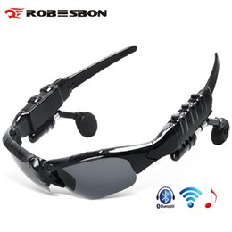 Wholesale bluetooth phone sunglasses - ROBESBON Cycling Glasses Polarized Bluetooth Men Motorcycling Sunglasses MP3 Phone Bicycle Outdoor Sport Riding Sun Glasses for Women
