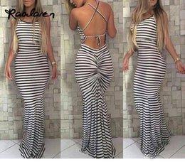 Wholesale Shirred Dress Straps - Sexy Long Summer Dresses Women Casual Ladies Spaghetti Strap White Striped Crisscross Shirred Back Sheath Maxi Dress