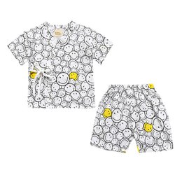 Wholesale Cheap Baby Clothes Sets - Baby Summer Pajamas 2pcs Sets INS Children Cotton T-shirt Short Pants Suits Cartoon Smile Face Printed Kids Clothing Cheap Free DHL 542