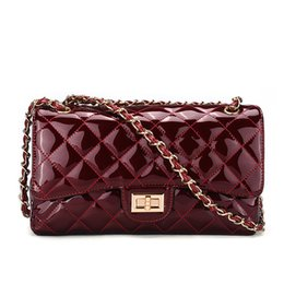 Wholesale Women Bags Glossy - hot sale fashion Patent leather small rhombic chain bag retro sweet glossy women lady designer shoulder bags handbag