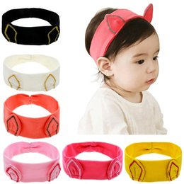 Wholesale Cat Hair Ribbon - INS New Baby Girls embroid Cat Headbands Cartoon Kitty Ear Head bands Kids Elastic Cotton Hairband Children Hair Accessories Headbands
