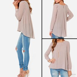 Wholesale dovetail shirts - New Women Casual Basic Casual Summer Autumn Chiffon Blouse Top Shirt Fold Dovetail blusas Loose Full sleeve Plus Size