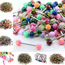 Wholesale Tongue Rings For Men - New Fashion Stainless Steel Navel Piercing Tongue Rings For Women Men Body Jewelry Belly Rings CC532