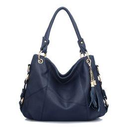 Wholesale Ladies Fringed Handbags - Wholesale- 2016 Fashion Korean Style Women Leather Shoulder Bag Handbags Fringed Tassel Stitching Lady Tote Messenger Bags Bolso Mujer S039
